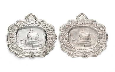 A pair of Victorian silver plaques
