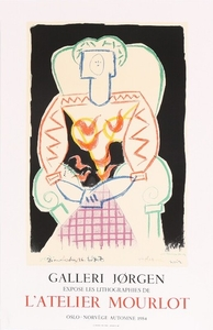 1907/616: Pablo Picasso: Exhibition poster from Gallerie Jørgen, Mourlot 1984. Unsigned. Lithographic print in colours. Sheet size 78 x 50 cm. Unframed.