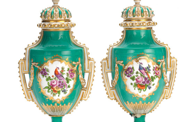A pair of Coalport vases and covers, circa 1850