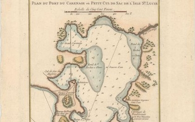 "NO RESERVE, ""Plan du Port du Carenage ou Petit Cul de Sac de l'Isle Se Lucie"", Bellin, Jacques Nicolas"