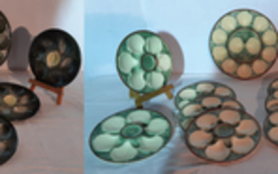2 SETS OF GLAZED FAIENCE OYSTER PLATES, 17 PCS. TOTAL