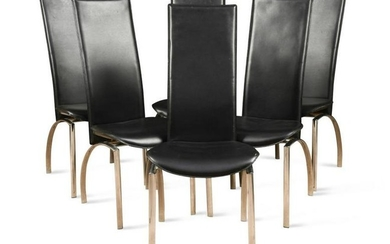 A set of six black vinyl and chrome high-back dining