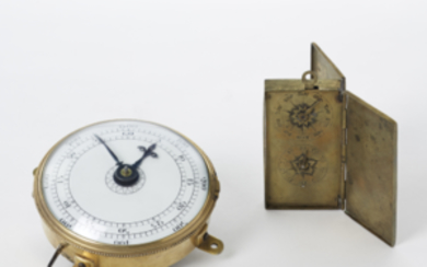 COMPTEUR Lot comprising two brass rev counters. One round,...