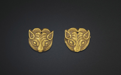 A PAIR OF SMALL GOLD 'TIGER-MASK' ORNAMENTS, NORTHWEST CHINA, 5TH-4TH CENTURY BC OR LATER