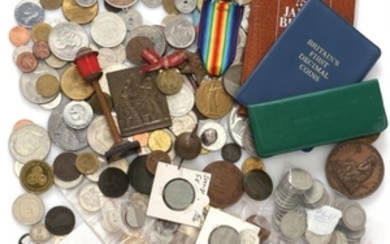 1907/5316: Box with collection of various Danish and foreign coins and medals, incl. some in Ag