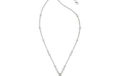 Diamond, White Gold Necklace The necklace features full-cut diamonds...