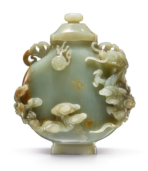 A GREEN JADE 'DRAGON' MOONFLASK AND COVER 17TH / 18TH CENTURY