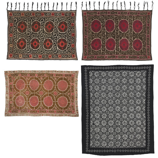 A PAIR OF SUZANI SILK LARGE WALL HANGINGS, UZBEKISTAN, LATE 19TH CENTURY/EARLY 20TH CENTURY