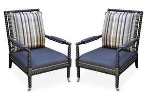 A pair of Ralph Lauren 'New Bohemian' spindle armchairs