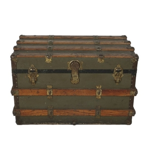Lot Art Antique Flat Top Steamer Trunk