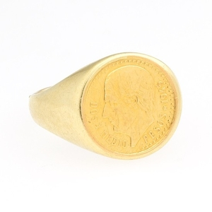High Carat Gold 1945 Dos Y Medio Gold Coin Ring