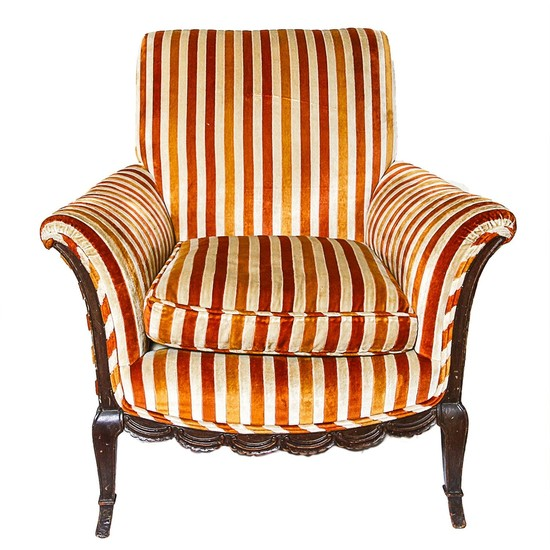Lot Art Vintage Orange Red And White Striped Velour Armchair