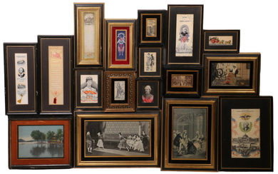 COLLECTION OF (16) STEVENOGRAPH PICTORIAL TEXTILES & (1) JAPANESE, FRAMED