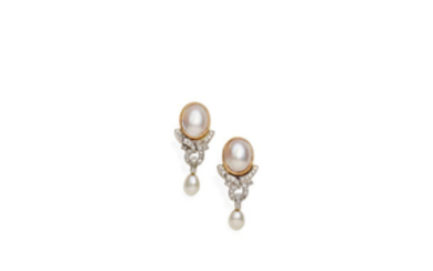 A pair of blister pearl, pearl and diamond earrings,