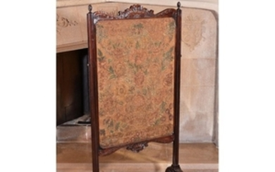A George III mahogany and needlework screen