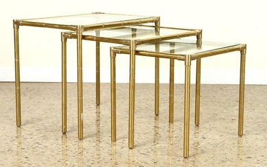 NEST OF 3 BRASS BAMBOO FORM GLASS TOP TABLES 1920
