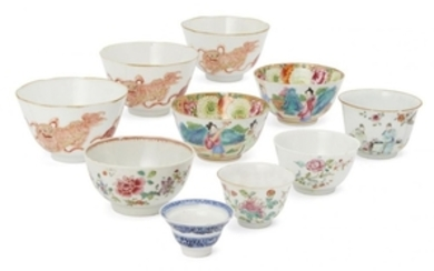 Ten Chinese porcelain bowls, 18th-19th century, including...