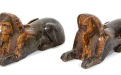 A Pair of Anthony Redmile Carved Wood and Tortoishell Veneer Sphinxes
