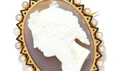 ANTIQUE CARVED CAMEO, PEARL AND ENAMEL BROOCH in high