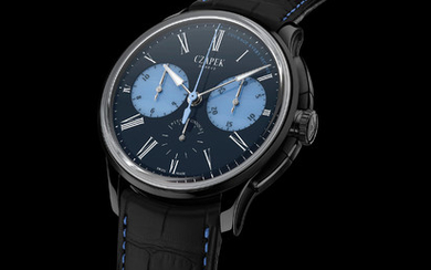 CZAPEK FAUBOURG DE CRACOVIE ONLY WATCH 2019 – COURAGE EVERY SECOND Based on Czapek's COSC-certified, 5 Hz, integrated chronograph Faubourg de Cracovie, the Only Watch unique piece features a 5-grade titanium case with ADLC® coating and a magnificent...,