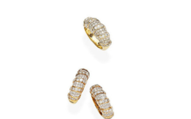 A diamond ring and ear clip set