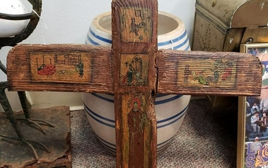 Early 20th Century San Antonio Hand Painted Wood Cross