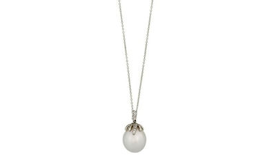 A 'Fireworks' cultured pearl and diamond pendant