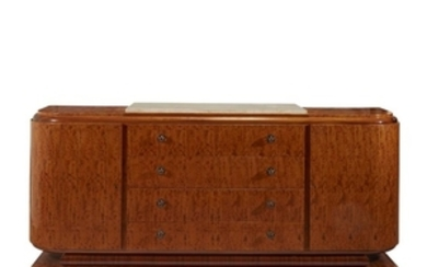 A large Art Deco figured maple and marble sideboard...