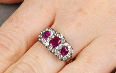 A late Victorian silver and 18ct gold, Burmese ruby and old-cut diamond triple cluster ring.