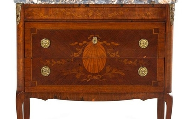 A Louis XV Style Marquetry Commode