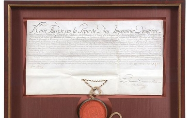 Marie Theresa French Document with Large Wax Seal.