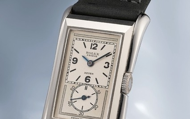 Rolex, Ref. 1490 An incredibly well preserved stainless steel rectangular wristwatch