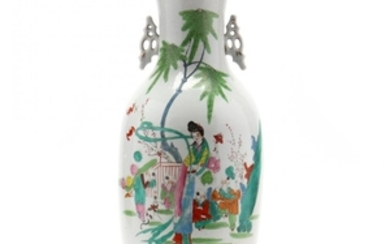 A Tall Chinese Porcelain Famille Rose Vase