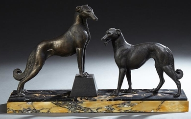 French Art Deco Patinated Spelter Figural Group, c.