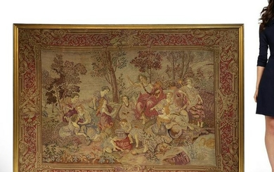Large Framed 19th C FRENCH TAPESTRY WALL HANGING