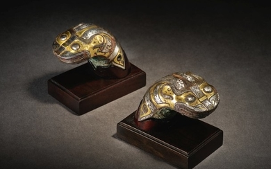 A RARE PAIR OF GOLD AND SILVER-INLAID BRONZE CHARIOT YOKE ORNAMENTS EASTERN ZHOU DYNASTY, WARRING STATES PERIOD