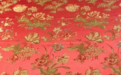 multi-colored decorations finished in gold - Louis XVI Style - cotton blend - Second half 20th century