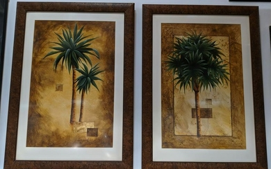 Two framed palm tree prints. Signed L. Howell.