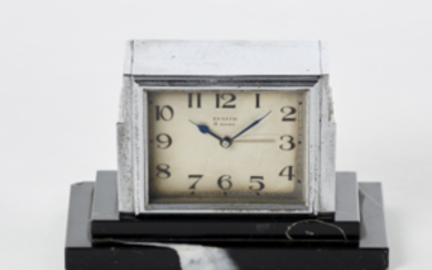 ZENITH Steal desk clock, with black marble base 1930s...
