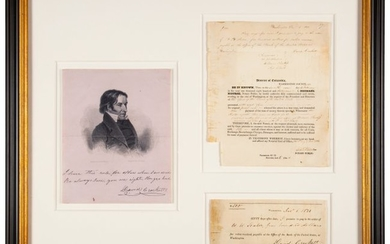 47117: David Crockett Signed Promissory Note with Notar