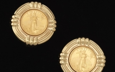 A Pair of Gold and American Liberty Five Dollar Gold Coin Earrings