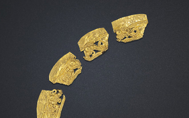 A SET OF FOUR ORNAMENTAL GOLD FRAGMENTS, EASTERN HAN-SIX DYNASTIES PERIOD, 3RD-4TH CENTURY AD