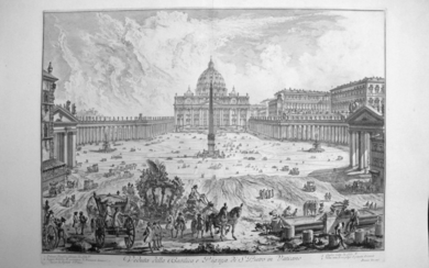 Piranesi, Giovanni: ST. PETER'S, WITH FORECOURT AND COLONNADES. FOUNTAIN IN FOREGROUND, Year 1748