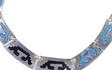 A Mexican sterling silver Aztec design collar necklace, with...