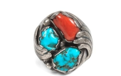 Southwestern Silver, Turquoise and Coral Ring