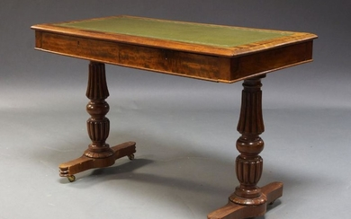 A Victorian mahogany library desk, the rounded...