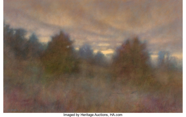 Chris Burkholder (b. 1952), Twilight on Young Pines (1985)