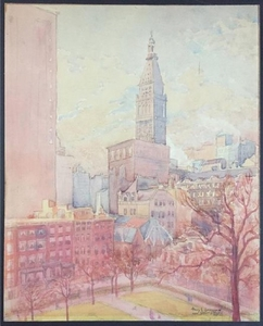 Lot Art Henri L Laussucq Gramercy Park Watercolor Painting