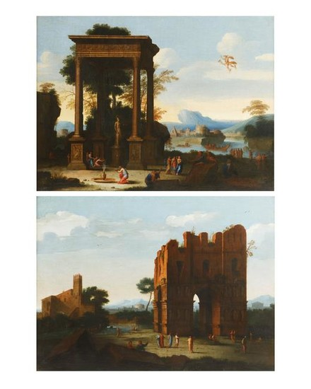 Manner of Claude Lorraine,Temple of Minerva, two