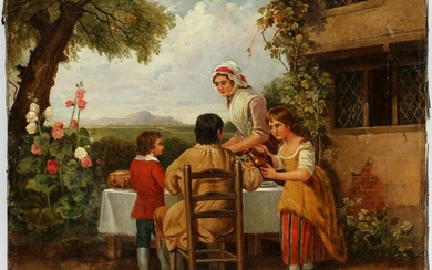ATTRIBUTED TO GEORGE MORLAND, OIL ON CANVAS,